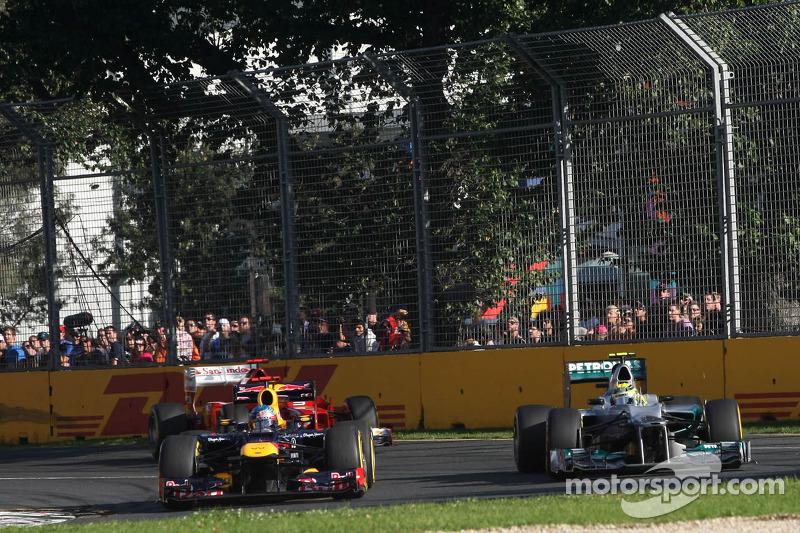 Sebastian Vettel, Red Bull Racing and Nico Rosberg, Mercedes GP
