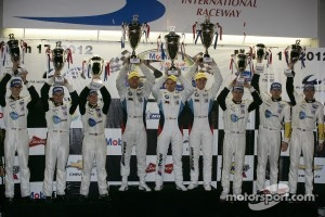 ALMS GTE-Pro podium: first place Joey Hand, Dirk Muller, Jonathan Summerton, second place Oliver Gavin, Tom Milner, Richard Westbrook, third place Jan Magnussen, Antonio Garcia, Jordan Taylor