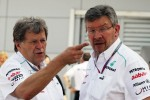 Norbert Haug, Mercedes Sporting Director with Ross Brawn, Mercedes GP Team Principal