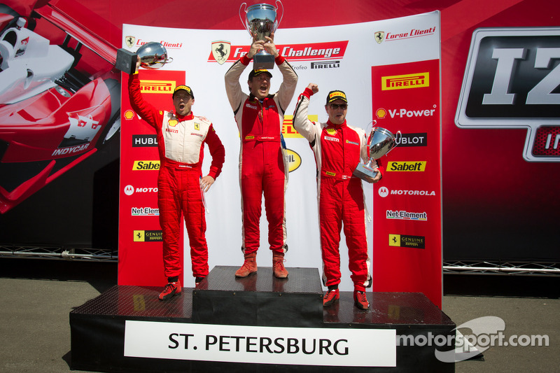 458CS podium: winner #007 Ferrari of Ontario 458CS: Robert Herjavec, second place #31 Ferrari of Ontario 458CS: Damon Ockey, third place #91 Ferrari of Ft Lauderdale 458CS: Guy Leclerc