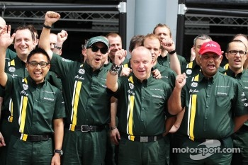 Riad Asmat, Caterham F1 Chief Executive Officer; Din Kamarudin, Caterham F1 Shareholder; Mike Gascoyne, Caterham Group Chief Technical Office and Tony Fernandes, Caterham Team Principal at a Caterham F1 Team Photograph