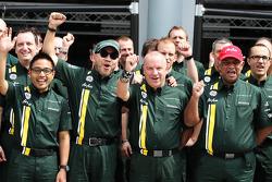 Riad Asmat, Caterham F1 Chief Executive Officer; Din Kamarudin, Caterham F1 Shareholder; Mike Gascoyne, Caterham Group Chief Technical Office and Tony Fernandes, Caterham Team Principal at a Caterham F1 Team Photograph