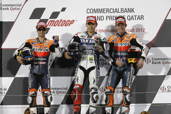 Podium: race winner Jorge Lorenzo, Yamaha Factory Racing, second place Dani Pedrosa, Repsol Honda Team, third place Casey Stoner, Repsol Honda Team