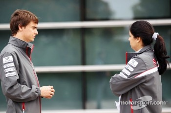 Esteban Gutierrez, Sauber F1 Team Third Driver with Monisha Kaltenborn, Sauber F1 Team Managing Director