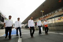 Paul di Resta, Sahara Force India F1 and Jules Bianchi, Sahara Force India F1 Team Third Driver walk the circuit
