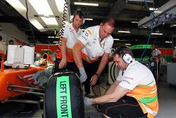 Sahara Force India F1 Team mechanics work on the Sahara Force India F1 of Nico Hulkenberg, Sahara Force India F1