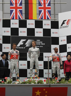 2nd place Jenson Button, Mercedes AMG Petronas and 3rd place Lewis Hamilton, McLaren Mercedes