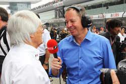 Bernie Ecclestone, CEO Formula One Group, with Martin Brundle, Sky Sports Commentator