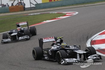 Bruno Senna, Williams F1 Team leads Pastor Maldonado, Williams F1 Team