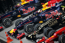 Mark Webber, Red Bull Racing, Sebastian Vettel, Red Bull Racing and Romain Grosjean, Lotus F1 Team