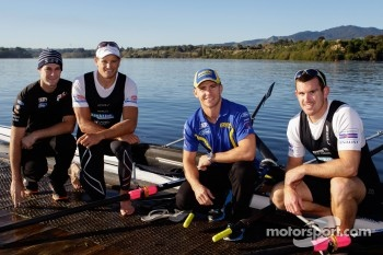 Shane Van Gisbergen and Lee Holdsworth train with current double world sculls rowing champions Nathan Cohen