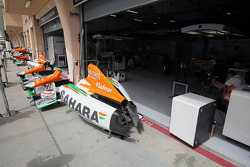 The Sahara Force India F1 Team garage in the second practice session, when they didn't run