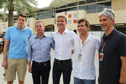 Jake Humphrey, BBC Television Presenter with Martin Brundle, Sky Sports Commentator; David Coulthard, Red Bull Racing and Scuderia Toro Advisor / BBC Television Commentator; Paul Stewart, Sky Sports Presenter