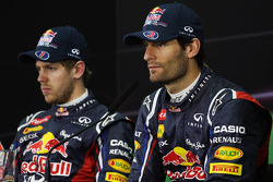 Sebastian Vettel, Red Bull Racing and team mate Mark Webber, Red Bull Racing in the FIA Press Conference