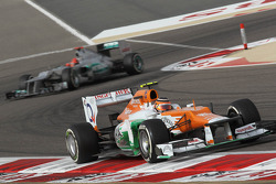 Nico Hulkenberg, Sahara Force India Formula One Team leads Michael Schumacher, Mercedes AMG Petronas