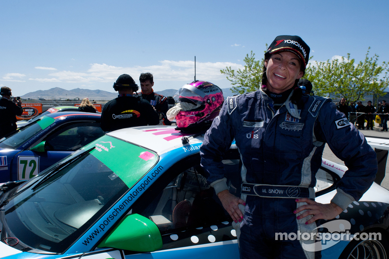 Melanie Snow poses with her car after class win