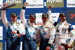 Yvan Muller, Chevrolet Cruze 1.6T, Chevrolet race winner, 2nd position Robert Huff, Chevrolet Cruze 1.6T, Chevrolet and 3rd position Alain Menu, Chevrolet Cruze 1.6T, Chevrolet with Mehdi Bennani, BMW 320 TC, Proteam Racing 1st position Yokohama Trophy