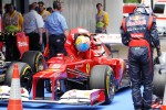 Fernando Alonso, Scuderia Ferrari and Sebastian Vettel, Red Bull Racing in parc ferme
