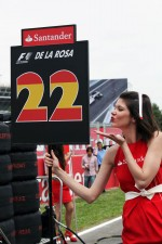 Grid girl for Pedro De La Rosa, HRT Formula 1 Team