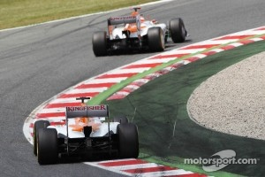 Paul di Resta, Sahara Force India leads Nico Hulkenberg, Sahara Force India F1