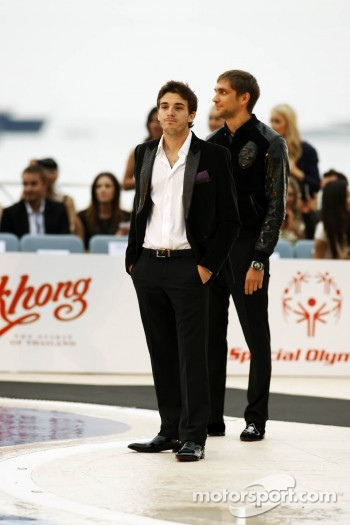 Jules Bianchi, Sahara Force India F1 Team Third Driver and Vitaly Petrov, Caterham at the Amber Lounge Fashion Show