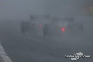 Rain fell hard on Motorland Aragon.