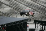 Patrick Moro makes a jump before the ramp is shut down