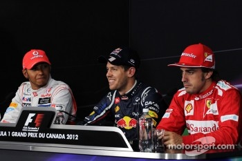 The post qualifying FIA Press Conference, McLaren Mercedes, second; Sebastian Vettel, Red Bull Racing, pole position; Fernando Alonso, Scuderia Ferrari, third