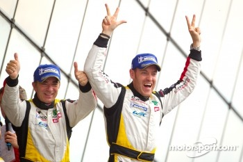 LMGTE Am podium: class winners Patrick Bornhauser and Julien Canal