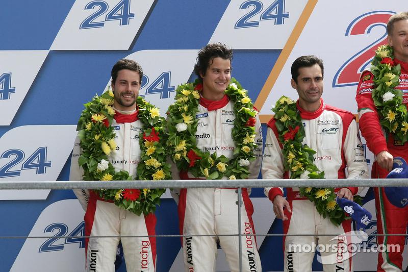 LMGTE Pro podium: second place Frederic Makowiecki, Jaime Melo, Dominik Farnbacher