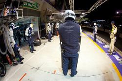 Pit stop for #97 Aston Martin Racing Aston Martin Vantage V8: Stefan Mücke, Adrian Fernandez, Darren Turner