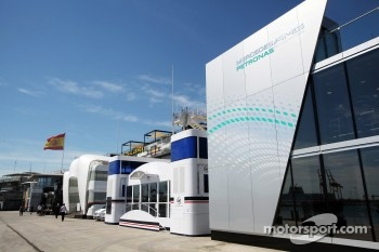 Mercedes AMG F1 and Williams motorhomes