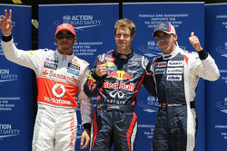pole postion for Sebastian Vettel, Red Bull Racing with Lewis Hamilton, McLaren Mercedes in 2nd place and 3rd Pastor Maldonado, Williams F1 Team