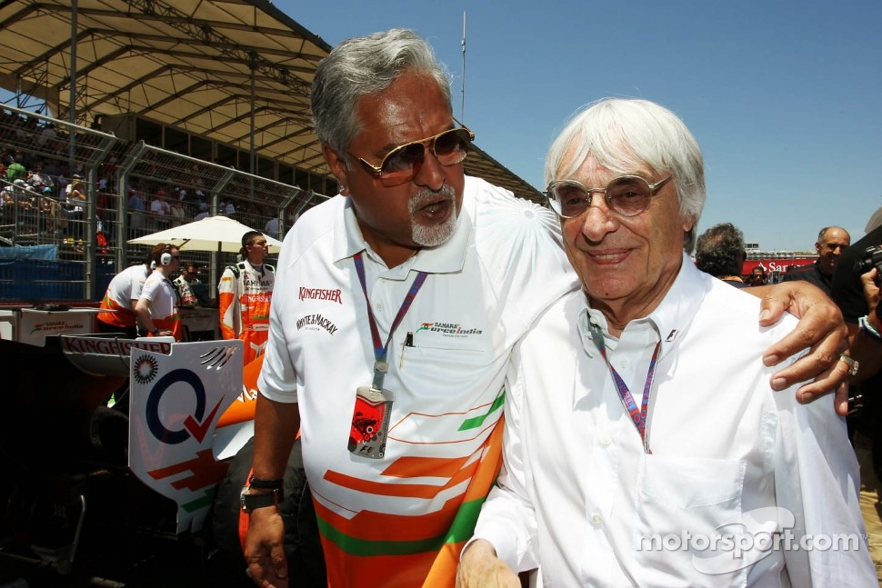 Dr. Vijay Mallya, Sahara Force India F1 Team Owner with Bernie Ecclestone, CEO Formula One Group