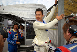 GT500 winner Takashi Kogure celebrates