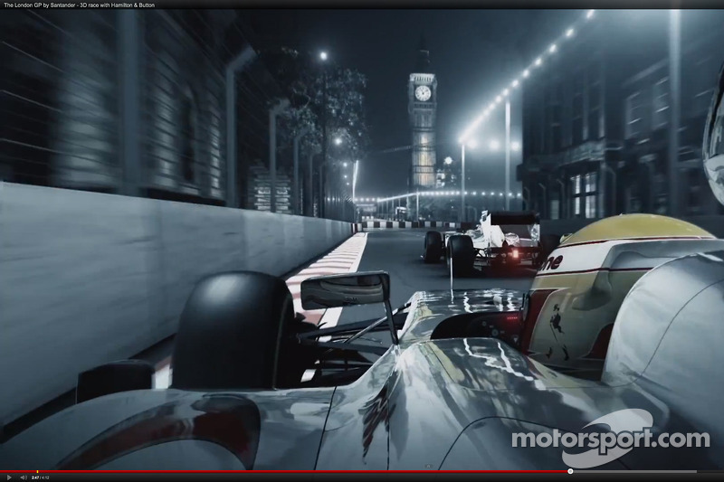 Screen capture of the London Grand Prix by Santander