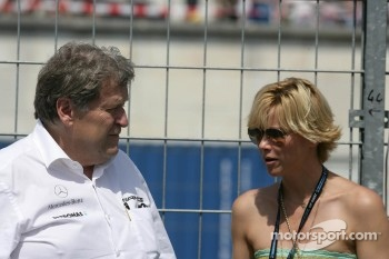 Norbert Haug, Sporting Director Mercedes-Benz with his Girlfriend Anne Wis