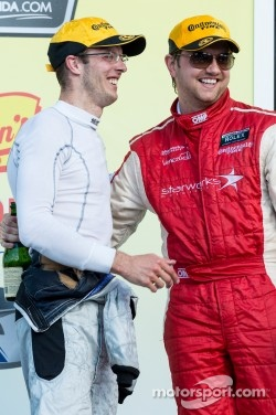 Bourdais on the podium with Ryan Dalziel at Watkins Glen