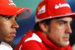 Lewis Hamilton, McLaren Mercedes Mercedes and Fernando Alonso, Ferrari in the FIA Press Conference