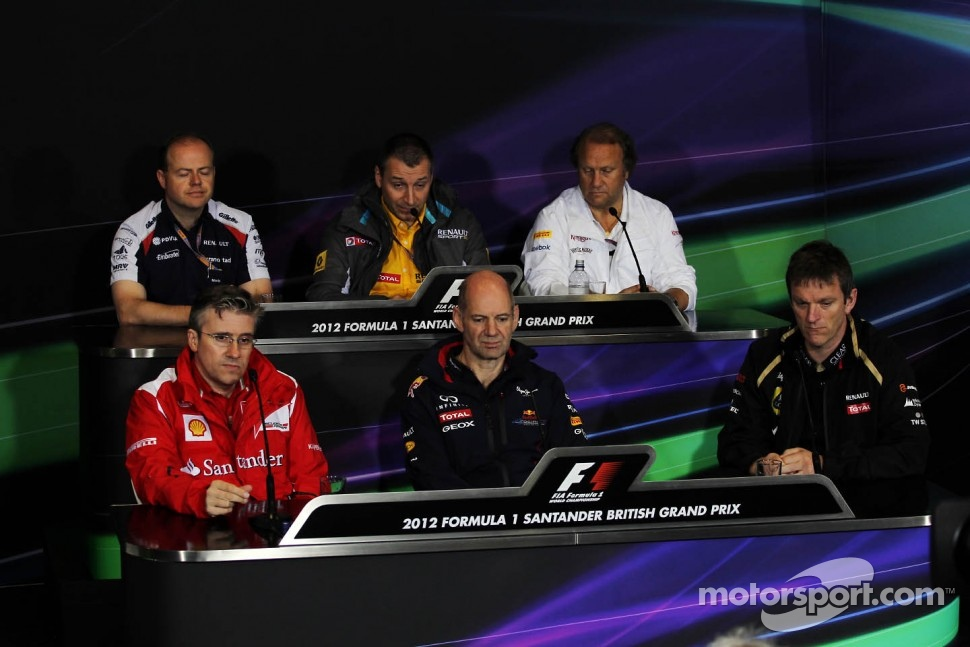 The FIA Press Conference, Renault Deputy Managing Director, Sahara Force India F1 Team Deputy Team Principal; Pat Fry, Ferrari Deputy Technical Director and Head of Race Engineering; Adrian Newey, Red Bull Racing Chief Technical Officer; James Allison, Lo