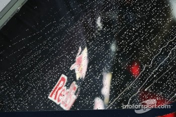 Rain drops on the Red Bull Racing pit gantry