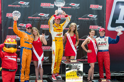 Race winner Ryan Hunter-Reay, second place Charlie Kimball and third place Mike Conway