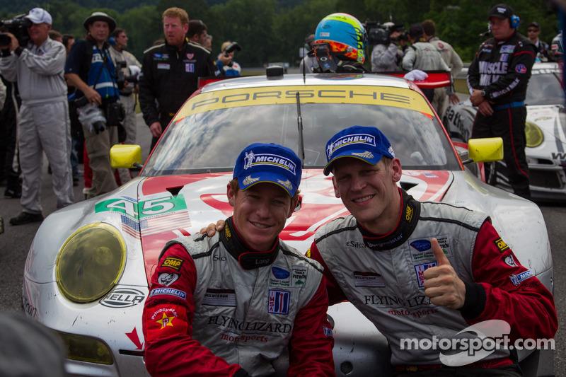 Jörg Bergmeister and Patrick Long after winning GT