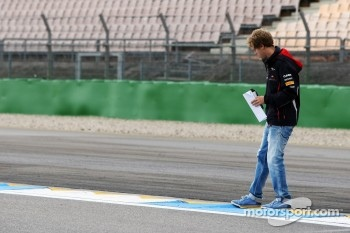 Sebastian Vettel, Red Bull Racing walks the circuit and checks a kerb