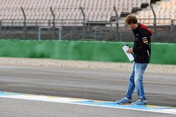 Sebastian Vettel, Red Bull Racing walks the circuit and checks a kerb