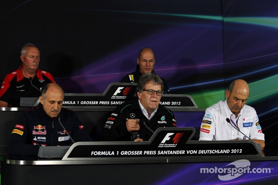 The FIA Press Conference, Marussia F1 Team Team Principal; Mark Smith, Caterham F1 Team Technical Director; Franz Tost, Scuderia Toro Rosso Team Principal; Norbert Haug, Mercedes Sporting Director; Peter Sauber, Sauber Team Principal