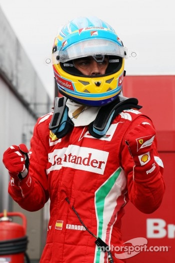 Fernando Alonso, Ferrari celebrates his pole position in parc ferme