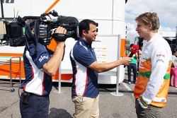 Nico Hulkenberg, Sahara Force India F1 is interviewed by Ted Kravitz, Sky Sports Pitlane Reporter