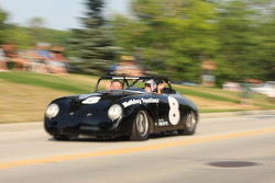 Race Cars parade into Elkhart Lake for the Friday Concours  #8 1958 Porsche 356: Paul Swanson