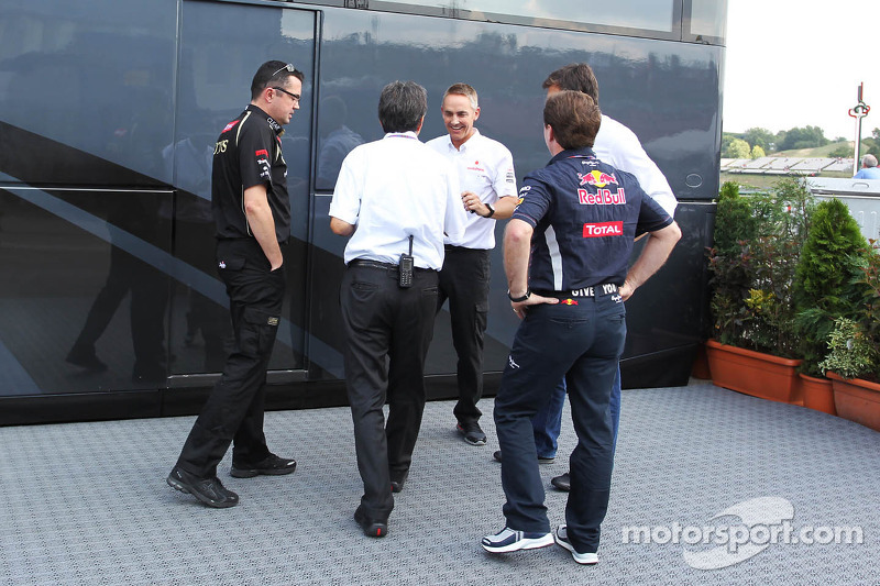 Eric Boullier, Lotus F1 Team Principal; Pasquale Lattuneddu, of the FOM; Martin Whitmarsh, McLaren Chief Executive Officer; Christian Horner, Red Bull Racing Team Principal and Toto Wolff, Williams Non Executive Director, wait for a meeting with Bernie Ec